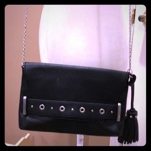 Black crossbody bag with studs & tassel